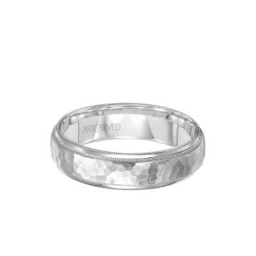 ArtCarved 6MM Men's Wedding Band - Hammered Satin Finish and Round Edge in 18k White Gold