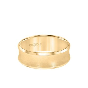 ArtCarved 6MM Men's Wedding Band - Satin Finish and Bevel Edge in 18k Yellow Gold