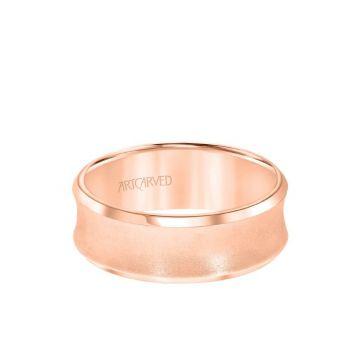 ArtCarved 6MM Men's Wedding Band - Satin Finish and Bevel Edge in 14k Rose Gold