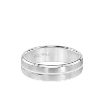 ArtCarved 6.5MM Men's Wedding Band - Brush Finish with Polished Center Line and Bevel Edge in 18k White Gold