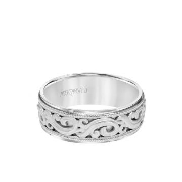 ArtCarved Platinum 7.5MM Men's Wedding Band - Intricated Engraved Open Scroll Design with Milgrain and Flat Edge