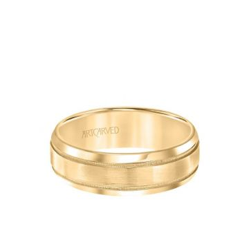 ArtCarved 7MM Men's Classic Wedding Band - Brush Finish with Milgrain Detail and Rolled Edge in 18k Yellow Gold