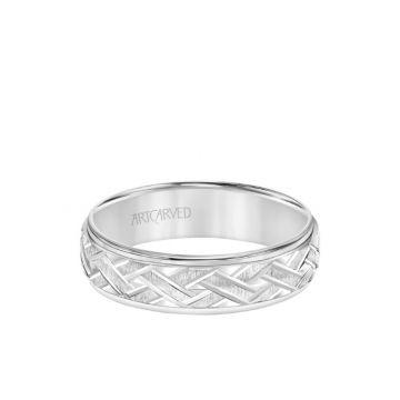 ArtCarved Platinum 6MM Men's Classic Wedding Band - Criss-Cross Swiss Cut Engraved Design and Step Edge