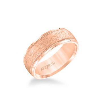 ArtCarved 6MM Men's Wedding Band - Crystalline Finish with Milgrain and Bevel Edge in 14k Rose Gold