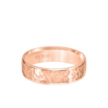 ArtCarved 6MM Men's Classic Wedding Band - Hammered Finish and Step Edge in 14k Rose Gold