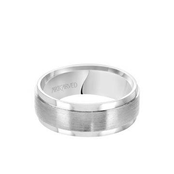 ArtCarved Platinum 8MM Men's Classic Wedding Band - Satin Finish and Flat Edge