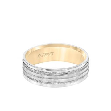ArtCarved 6MM Men's Wedding Band - Brush Finish with Polished Cuts and Milgrain Accents with Yellow Gold Interior and Flat Edge in 14k White and Yellow Gold