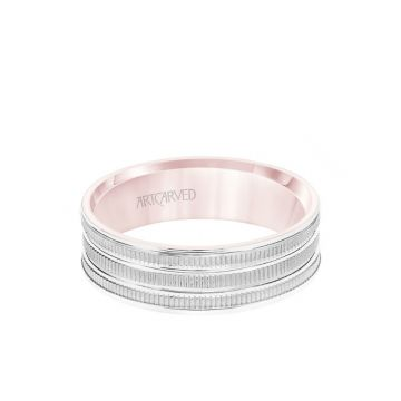 ArtCarved 6.5MM Men's Wedding Band - Yellow Gold Coin Finish with Flat Cuts with White Gold Interior and Flat Edge in 14k White and Rose Gold