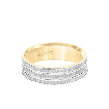ArtCarved 6.5MM Men's Wedding Band - Yellow Gold Coin Finish with Flat Cuts with White Gold Interior and Flat Edge in 14k White and Yellow Gold