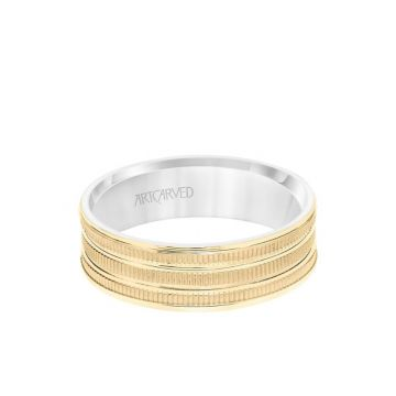 ArtCarved 6.5MM Men's Wedding Band - Yellow Gold Coin Finish with Flat Cuts with White Gold Interior and Flat Edge in 14k Yellow and White Gold