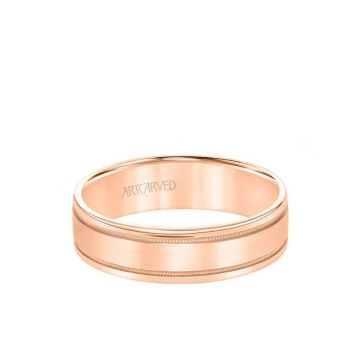 ArtCarved 6MM Men's Wedding Band Gold Brush Milgrain Finish with Milgrain Accents and Flat Edge in 14k Rose Gold