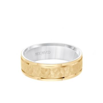 ArtCarved 6.5MM Men's Wedding Band - Brush Hammered Finish with Flat Edge in 14k Yellow and White Gold