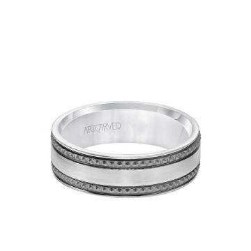 ArtCarved Platinum 7MM Men's Wedding Band - Satin Soft Sand Finished with Textured Black Rhodium and Flat Edge