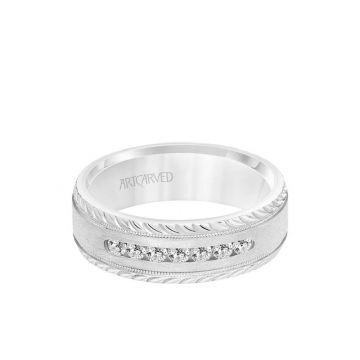 ArtCarved 7MM Men's Seven Stone Diamond Wedding Band - Crystalline Finish with Milgrain and Leaf Design Bevel Edge in 14k White Gold