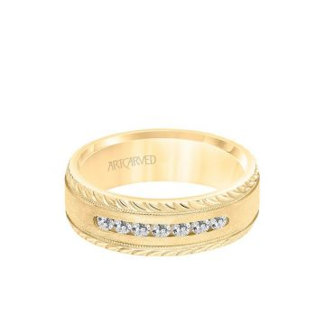 ArtCarved 7MM Men's Seven Stone Diamond Wedding Band - Crystalline Finish with Milgrain and Leaf Design Bevel Edge in 14k Yellow Gold