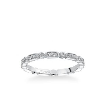 ArtCarved Platinum Stackable Polished Band with Diamond Petal Accents