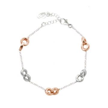 Frederic Duclos  Sterling Silver  And Rose Gold Plated Togetherness Bracelet