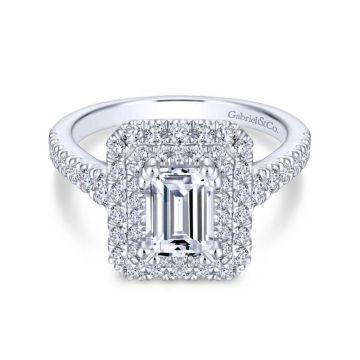 Gabriel & Co. 14k White Gold Rosette Double Halo Engagement Ring