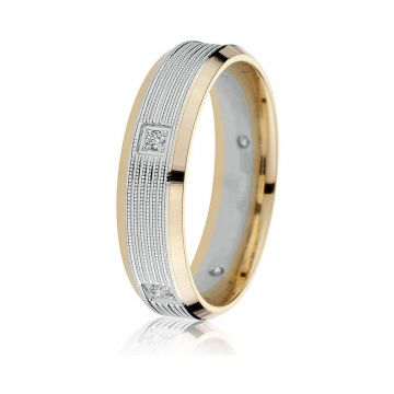 Gravure 14k Two Tone Gold 6mm Comfort Fit Carved 0.10ct Diamond Wedding Band