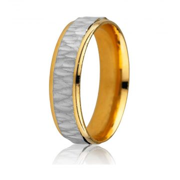 Gravure 14k Two Tone Gold 6mm Comfort Fit Engraved Wedding Band