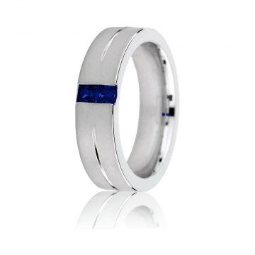 Gravure 14k White Gold 6mm Comfort Fit Sandblasted Sapphire Wedding Band
