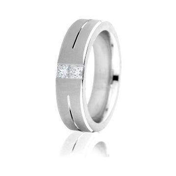 Gravure 14k White Gold 6mm Comfort Fit Sandblasted 0.30ct Diamond Wedding Band