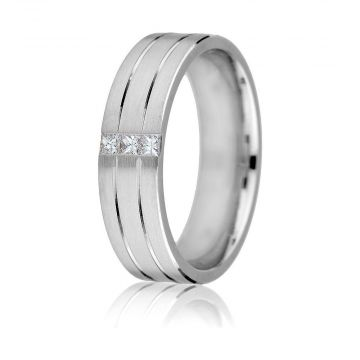Gravure 14k White Gold 6mm Comfort Fit Carved 0.12ct Diamond Wedding Band