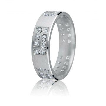 Gravure 14k White Gold 6mm Comfort Fit Satin Finish 0.50ct Diamond Wedding Band
