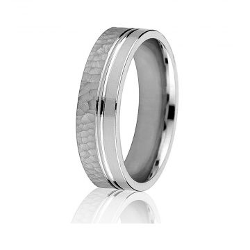 Gravure 14k White Gold 6mm Hammered and Smooth Comfort Fit Wedding Band