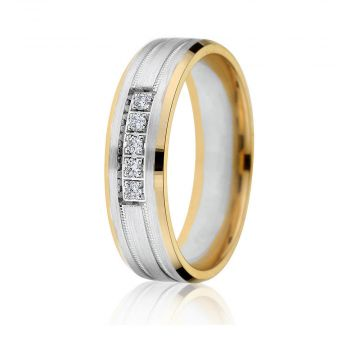 Gravure 14k Two Tone Gold 6mm Comfort Fit Carved 0.06ct Diamond Wedding Band