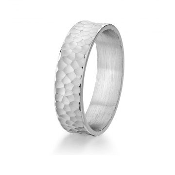 Gravure 14k White Gold 6mm Comfort Fit Engraved Wedding Band
