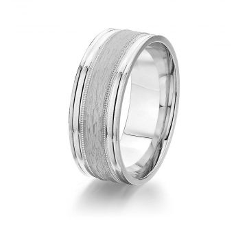 Gravure 14k White Gold 8mm Comfort Fit Engraved with Milgarin Wedding Band