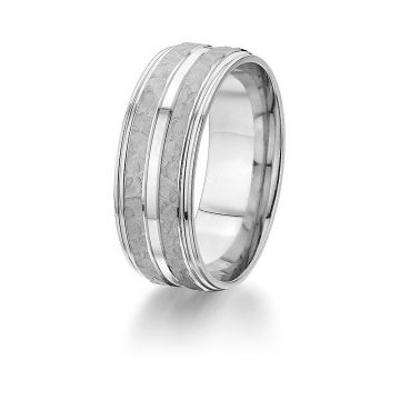 Gravure 14k White Gold 8mm Hammered and Smooth Comfort Fit Wedding Band