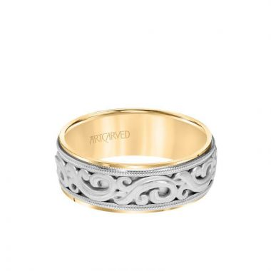 ArtCarved 7.5MM Men's Wedding Band - Intricated Engraved Open Scroll Design with Milgrain and Flat Edge in 14k Yellow and White Gold