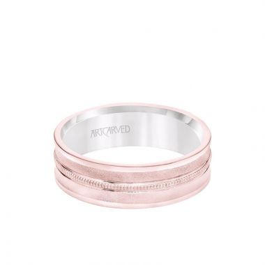 ArtCarved 6.5MM Men's Wedding Band - White Gold Bright Soft Sand Finish with Milgrain Center with Rose Gold Interior and Flat Edge in 14k White and Rose Gold