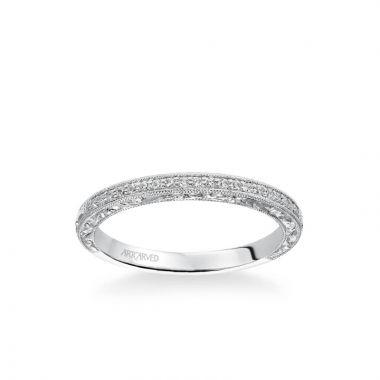 ArtCarved Julie Vintage Diamond and Milgrain Engraved Wedding Band in 14k White Gold