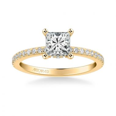 ArtCarved Sybil Classic Side Stone Diamond Engagement Ring in 18k Yellow Gold