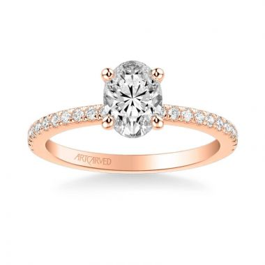 ArtCarved Sybil Classic Side Stone Diamond Engagement Ring in 18k Rose Gold