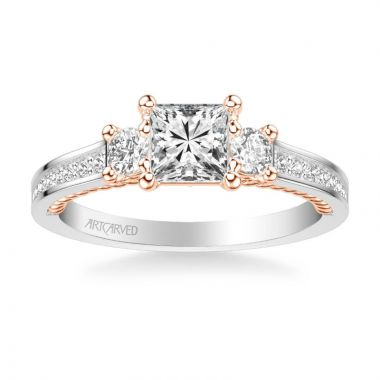 ArtCarved Marlow Contemporary Three Stone Rope Diamond Engagement Ring in 14k White and Rose Gold