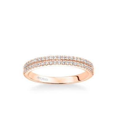 ArtCarved Dorothy Classic Double Row Diamond Wedding Band in 14k Rose Gold