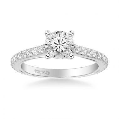 ArtCarved Carmen Contemporary Side Stone Twist Diamond Engagement Ring in 14k White Gold