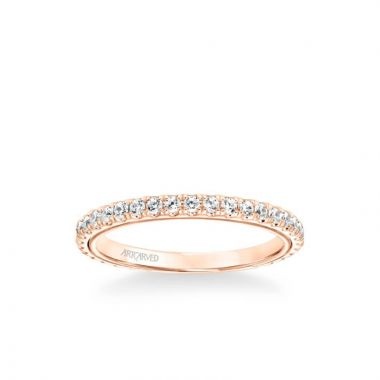ArtCarved Tayla Contemporary Diamond Wedding Band in 14k Rose Gold