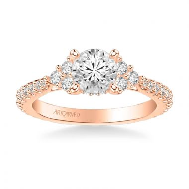 ArtCarved Clio Classic Three Stone Diamond Engagement Ring in 18k Rose Gold