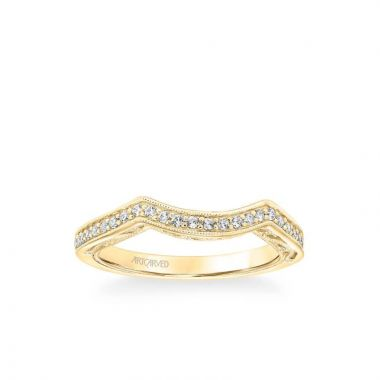 ArtCarved Lucinda Vintage Heritage Collection Diamond and Milgrain Filigree Scrollwork Wedding Band in 18k Yellow Gold