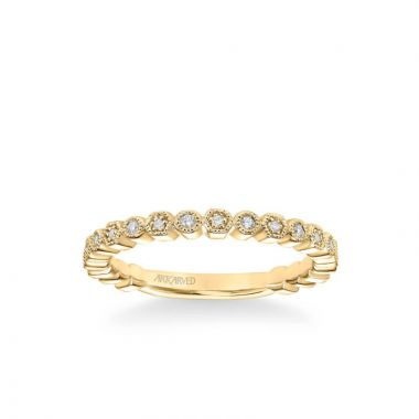 ArtCarved Lilith Vintage Diamond and Milgrain Multi-Shape Wedding Band in 14k Yellow Gold