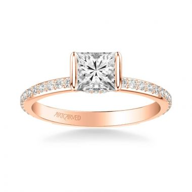 ArtCarved Gray Contemporary Side Stone Bezel Diamond Engagement Ring in 18k Rose Gold