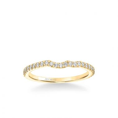 ArtCarved Bluebelle Contemporary Diamond Wedding Band in 18k Yellow Gold