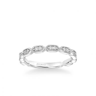 ArtCarved Cressida Vintage Heritage Collection Diamond and  Milgrain Wedding Band in 14k White Gold