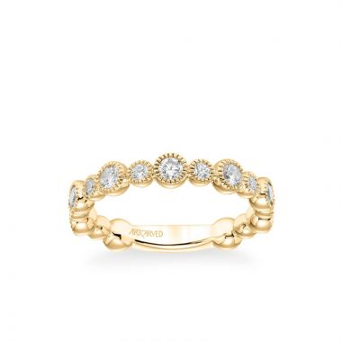 ArtCarved Stackable Band with Bezel Set Diamonds and Milgrain Accents in 14k Yellow Gold