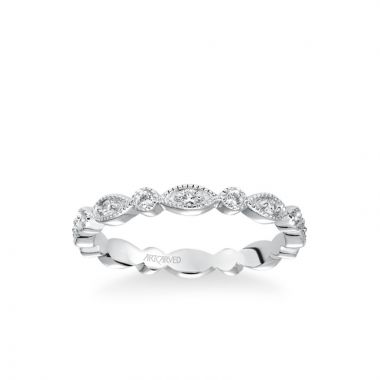 ArtCarved Stackable Eternity Band with Diamond and Milgrain Multi-Shape Alternating Design in 14k White Gold
